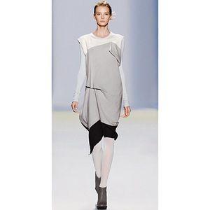 BCBGMaxazria Runway Silver Frost Color Block Dress